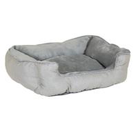 Charles Bentley Grey Plush Soft Furry Washable Dog Cat Pet Bed - S, M, L / Large