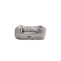 Charles Bentley Grey Plush Soft Furry Washable Dog Cat Pet Bed - S, M, L / Small