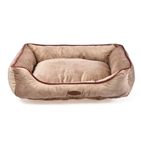 Charles Bentley Pet Bed Taupe with Pink Trim / Large