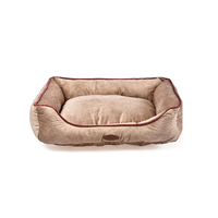 Charles Bentley Pet Bed Taupe with Pink Trim / Medium