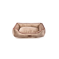 Charles Bentley Pet Bed Taupe with Pink Trim / Small