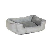 Charles Bentley Grey Plush Soft Furry Washable Dog Cat Pet Bed - S, M, L / Medium